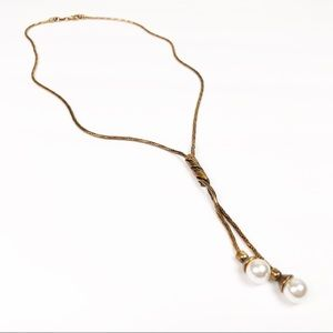 ANTHROPOLOGIE l Gold Pearl Drop Necklace